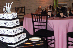 Wedding-Pink-black-chairs